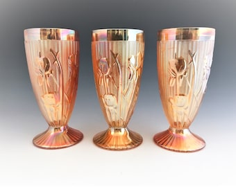 Set of 3 Jeannette Iris Footed Tumblers - Depression Glass Tumblers - 8 Ounce Tumblers