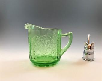 Uranium Glass Creamer - Jeannette Glass - Floral Pattern - Poinsettia - Green Depression Glass - Glowing Glass - c. 1931-35