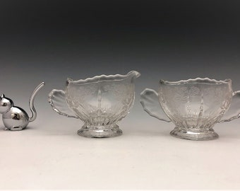 New Martinsville Glass - Radiance Pattern - Elegant Creamer and Open Sugar Bowl - Flow Basket or Meadow Wreath Etch