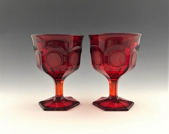 Fostoria Coin Glass Ruby Red - Set of 2 Champagne Glasses - Tall Sherbet Glasses - Hard to Find
