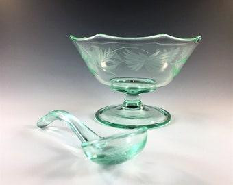 Hard to Find Lancaster Glass - Mayonnaise Bowl and Spoon - Octagon Pattern (No. 924) - Green Depression Glass - Glowing Uranium Glass