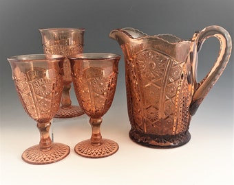 Indiana Glass Water Set - Paneled Daisy and Fine Cut (#123) - Water Pitcher and Three Goblets - Coral Color - Hard to Find