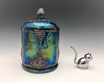 Indiana Harvest Iridescent Blue Glass Jar - Blue Carnival Glass Canister