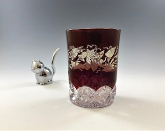 EAPG Tumbler - Elson Glass Company - Hero Pattern - AKA Ruby Rosette - Ruby Red Stain - Early American Pattern Glass (EAPG) - c. 1891