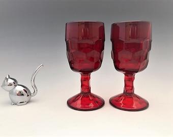 Viking Ruby Red Georgian Goblets - Set of 2 Wine Glasses - Honeycomb Pattern