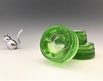 Set of 3 Uranium Glass Furniture Casters - Glowing Green Depression Glass - Floor Coasters