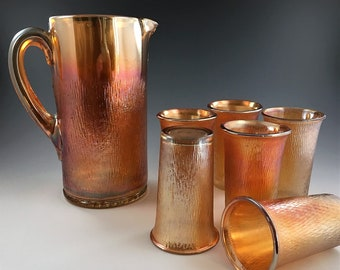 Depression Era Carnival Glass Water Set - Jeannette Glass Company - Tree Bark Pattern - Marigold Pitcher and Six Tumblers