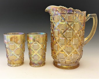 Westmoreland Old Quilt Water Set - Honey Amber Carnival Glass - Pitcher and Six Tumblers
