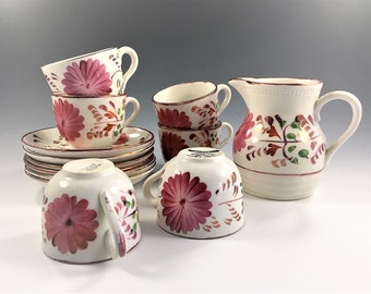 Allertons China Tea Set - 13 Piece Collection - Made In England - Cups Saucers and Pitcher - Floral Pattern