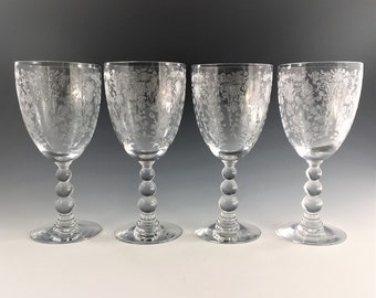 Set of 4 Water Goblets - Duncan Miller Glass - First Love - Etch 5111 - Elegant Glass Goblets