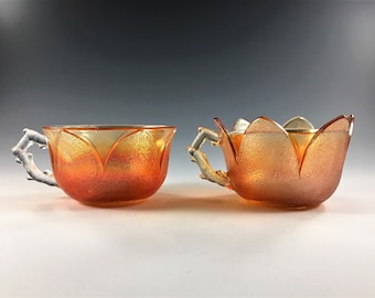 Set of Two Westmoreland Orange Peel (Line 69) Punch Cups - Iridescent Glass Cups - Marigold Carnival Glass - Depression Era Glass