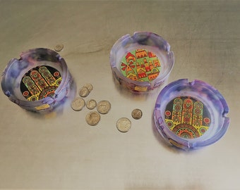 Collection of 3 Hand Painted Glass Ashtrays by Ilanit Olamtov - Jerusalem Israel