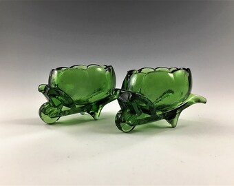 Set of 2 Vintage Green Glass Wheelbarrow Salt Cellars - West Virginia Glass Company