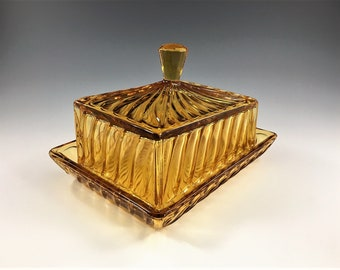 Vintage Bagley Amber Glass Cheese Dish - Carnival Pattern No. 3141 - Art Deco Cheese or Butter Dish