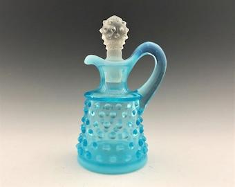 Fenton Opalescent Blue Colonial Hobnail Oil Cruet