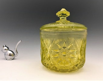 Kemple Vaseline Glass Covered Sugar Bowl - McKee Yutec Pattern - 1960's Glowing Glass - Uranium Glass