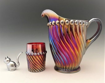 Westmoreland Ball and Swirl Water Set - Made for Levay - Ruby Red Carnival Glass - Limited Edition - Hard to Find - Pitcher and Tumbler