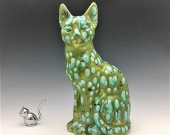 Ceramic Cat Statue - Ceramic Spotted Green Cat Figurine
