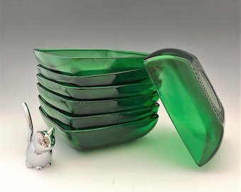 Anchor Hocking Charm Forest Green Coupe Soup Bowl - Emerald Green Mid Century Glass