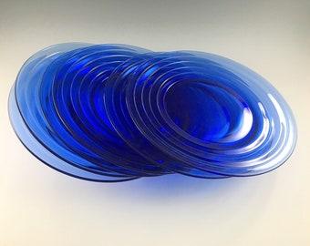 Hazel Atlas Moderntone Cobalt Plates - Set of 6 - 8 Inch Luncheon Plates - Depression Era Glass