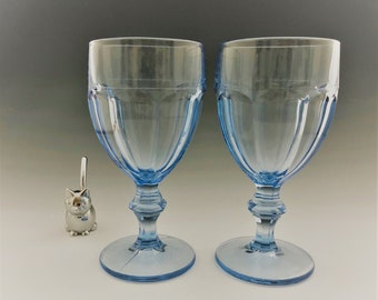 Set of 2 Libbey Gibraltar Water Goblets - Misty Blue