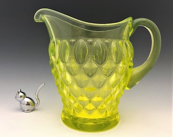 Mosser Vaseline Glass Pitcher - Elizabeth Pattern - Beaded Oval Motif - Fostoria No, 1229 Frisco Reproduction - Glowing Glass Pitcher