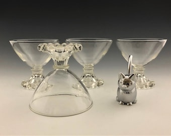 Set of 4 Anchor Hocking Boopie Clear Sherbet/Champagne Glasses - Mid Century Glassware