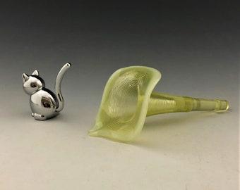 Northwood or Jefferson Glass Epergne Horn - Antique Vaseline Glass Flower Horn - Klondyke/Jackson Pattern - Opalescent Rim - Glowing Glass