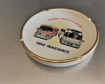 Rare Vintage Trailways Bus Advertising - Take Trailways - Round Ceramic Ashtray - Transportation Advertising