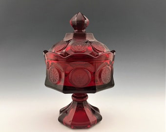 Stunning Fostoria Coin Glass Ruby Red Wedding Box With Lid