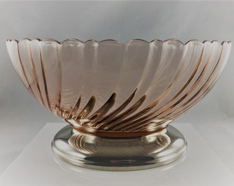 Arcoroc Rosaline Swirl Serving Bowl Pink Glass with Silver Plate Base