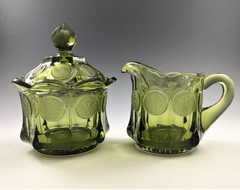 Fostoria Coin Glass Olive Green Breakfast Set - Creamer and Covered Sugar Bowl