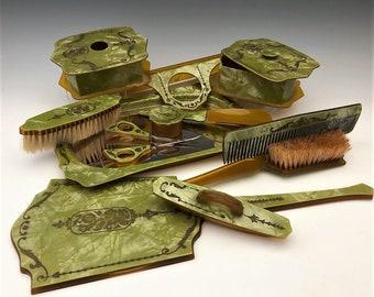 Vintage Celluloid Vanity Set - 12 Piece Dresser Set - Tortoise Shell Set