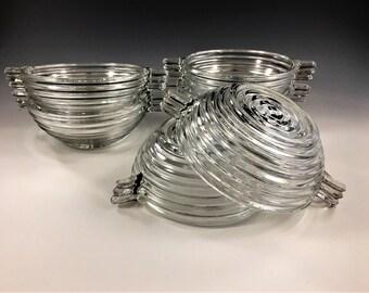 Stunning Set of 6 Art Deco Style Bowls - Anchor Hocking Manhattan Pattern - Sauce Bowls - Depression Era Glass