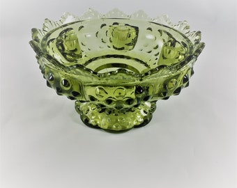 Vintage Fenton Green Glass Candlestick Bowl - Hobnail Candle Holder