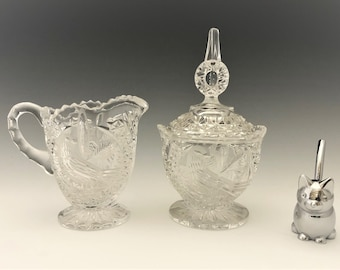 Hofbauer Byrdes Collection  - Breakfast Set - Creamer and Covered Sugar Bowl - Hard to Find - German Crystal