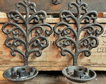 Vintage Cast Iron Candle Holders - Wilton Tree of Life Design - Heavy Metal Dark Chasers