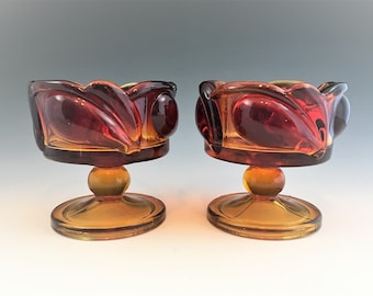 Set of Two Vintage Indiana Glass Candleholders - Leaf Pattern - Line # 1009 - Sunset - Amberina Glass - Tiara Exclusive
