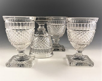 Set of 4 Westmoreland Waterford Water Goblets - Vintage Footed Glasses