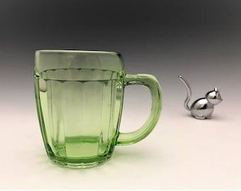 Hocking Glass Pillar Optic Pattern - Beer Mug - Hard to Find Uranium Glass - Green Depression Glass - Glowing Glass
