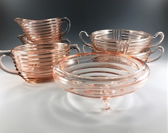 6 Piece Pink Depression Glass Collection - Hocking Manhattan Pattern and Complementing Pieces - Creamers, Sugar, Bowls