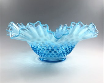 Fenton Blue Opalescent Hobnail Bowl - Double Crimp