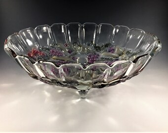 Vintage Indiana Clear Glass Centerpiece Bowl - Fruit Bowl - Garland Pattern - Flashed Purple Grapes