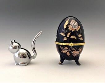 Cobalt Blue Porcelain Egg - Hinged Egg Trinket or Ring Box - Floral Motif - Gold Trim