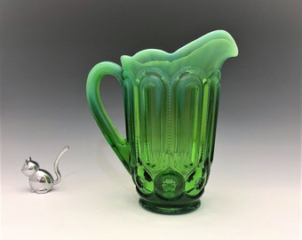 Weishar Moon and Star Apple Green Opalescent Water Pitcher - Rare Full Size Pitcher