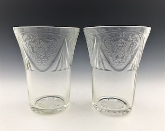 Set of 2 Hazel Atlas Royal Lace Tumblers - Depression Glass Flat Tumblers - 9 Ounce Tumblers