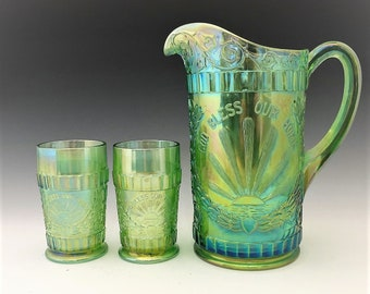 L.G. Wright God and Home Water Set - Ice Green Carnival Glass - Made by Westmoreland - Pitcher and 6 Tumblers