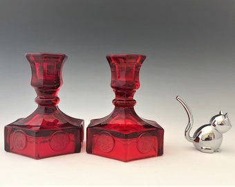 Fostoria Coin Glass Ruby - Set of Two Single Light Candlesticks - Hard to Find