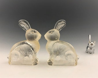 Set of Two Glass Rabbits - Vintage Bunny Candy Holders