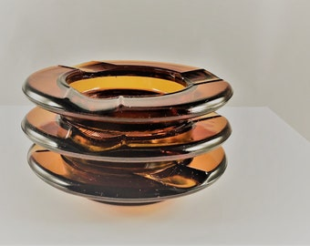 Set of Three Vintage Amber Glass Ashtrays - Mid Century Butt Catchers - Round Glass Smoke Holders